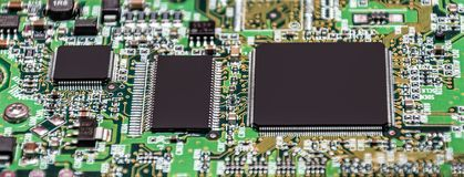 Electronic paths on the hard drive. microprocessor. Electronic paths on the hard drive. high technology, computer element, microprocessor Stock Photo