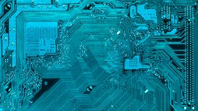 Electronic paths on the main board. Turquoise. Electronic paths on the main board. high technology, computer element Stock Photos