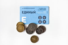 Electronic payment card for metro, bus and trams in Moscow. Electronic payment card for Moscow transport and coins. Russia.Moscow. Jan, 26, 2017 Stock Photos
