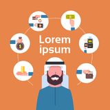 Electronic Payment Concept Arab Man Using Mobile Wallet Icons Digital Money Transaction And E-commerce. Flat Vector Illustration Royalty Free Stock Photos