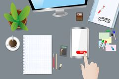 Electronic payment concept vector. Top view of the office table. Finger is touching red button Pay. Smart phone screen and blank notepad are ready for your text Royalty Free Stock Image