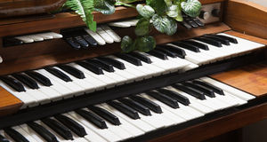Electronic piano keyboards close up Stock Image