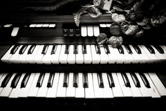 Electronic piano keyboards vintage black and white Royalty Free Stock Photo