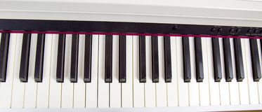 Electronic piano keys. Musical instruments hobby stock photo