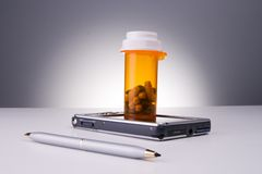 Electronic prescription. An electronic prescription using touch pad royalty free stock photo