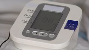 Electronic pressure meter during operation. Medical devices.  stock video