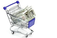 Electronic price labels in a small shopping cart Royalty Free Stock Images