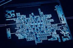 Electronic printed circuit board, blue digital background of GPU. Processing unit Stock Photo