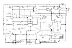 Electronic project. Schematic diagram - project of electronic circuit - graphic design of electronic components and semiconductor Stock Photography