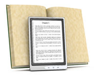 Electronic reader and open book. On white. 3d rendered image Royalty Free Stock Photos