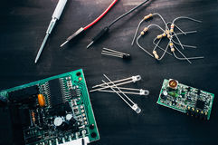 Electronic repair shop, workplace flat lay Royalty Free Stock Images