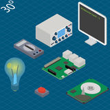 Electronic research laboratory. Isometric. Illustration with multimeter, oscilloscope, monitor, mini-pc main board, button, hdd and lamp Royalty Free Stock Photography