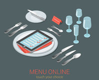 Electronic restautant menu order / reservation concept Stock Photography