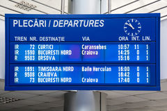 Electronic romanian panel. Departures board on the train station in Drobeta Turnu Severin, Romania royalty free stock photo