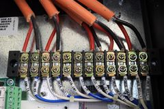 Electronic safety box wire cable fuse control Stock Image