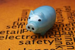 Electronic safety and piggy bank concept Royalty Free Stock Photos