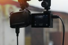 CCTV camera or Action Camera in the car. stock photography