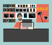 Electronic salesman in the supermarket. Royalty Free Stock Photo