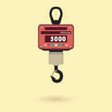 Electronic scale. S for weighing large items. The  is made in a flat style. Hanging s Royalty Free Stock Images