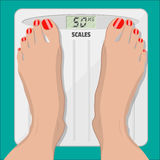 Electronic scales and female feet with pedicure. Woman weighed on floor scales, electronic scales and female feet with red pedicure. vector illustration in flat vector illustration