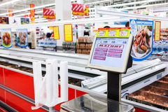 Electronic scales in the new hypermarket Magnit Royalty Free Stock Photo
