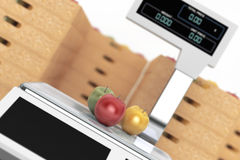 Electronic Scales for weighing Food with Apples Boxes. 3d Render Stock Photos