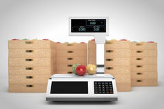 Electronic Scales for weighing Food with Apples Boxes. 3d Render Stock Photo