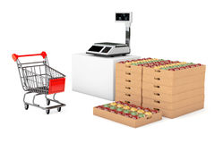 Electronic Scales for weighing Food with Apples Boxes. 3d Render Royalty Free Stock Photography