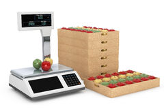 Electronic Scales for weighing Food with Apples Boxes. 3d Render. Electronic Scales for weighing Food with Apples Boxes on a white background. 3d Rendering Stock Photo