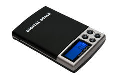 Electronic scales on white Stock Photo
