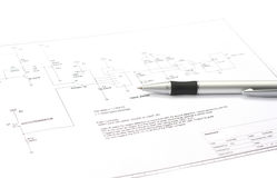 Electronic schematic. Electrical drawing with pencil as in a repair guide Royalty Free Stock Image