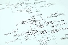 Electronic schematic. Close-up photo of the analog electronic schematic stock images