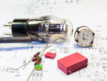 Electronic schematic tube amp Stock Photo