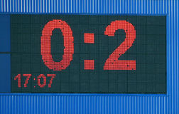 Electronic scoreboard. A large electronic advertisement board with numbers 0 and 2 Stock Photography