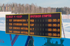 Electronic Scoreboard of traditional mass ski competitions. NIZHNY TAGIL, RUSSIA - FEB 2: Electronic Scoreboard of traditional mass ski competitions Russia ski Royalty Free Stock Photos
