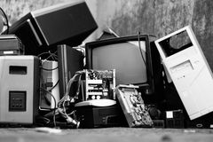 Electronic scrap waste raee rhos old things royalty free stock image
