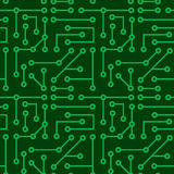 Electronic seamless texture. Background with electronic connections on green scheme royalty free illustration
