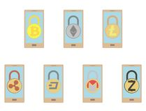 Electronic security lock in a smartphone ,vector icon.   vector disign. Electronic security lock in a smartphone ,vector icon. concept  vector disign. set Royalty Free Stock Image