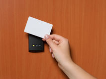 Electronic security system being activated. Electronic key system to lock and unlock doors royalty free stock images