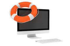 Electronic Service concept. Desktop computer with Life Buoy Stock Photos