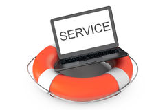 Electronic Service concept. Modern Laptop with Life Buoy and Ser Stock Photo