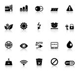 Electronic sign icons with reflect on white background Stock Images