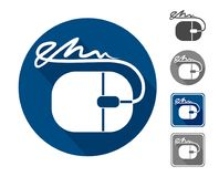 Electronic signature, icon. A sign in the form of a mouse and a wire from it that goes into the signature. Option in circle and square, in grey and blue color Stock Photos