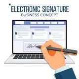 Electronic Signature Laptop Vector. Financial Business Agreement. Web Contract. Online Document. Isolated Flat. Electronic Signature Laptop Vector. Financial Royalty Free Stock Photo