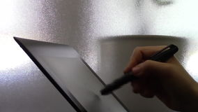 Electronic signature on the tablet pen stock video footage