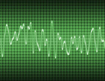 Electronic sine sound wave. Large image of an electronic sine sound or audio wave in green Royalty Free Stock Photo