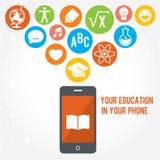 Electronic smart phone education background. Modern flat  illustration set. Design element Stock Photos