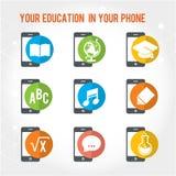Electronic smart phone education background. Modern flat  illustration set. Design element Royalty Free Stock Image