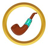 Electronic smoking pipe vector icon. In golden circle, cartoon style isolated on white background Stock Photo