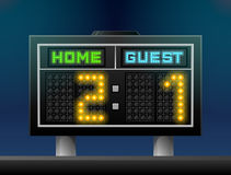 Electronic soccer scoreboard for stadium Stock Image